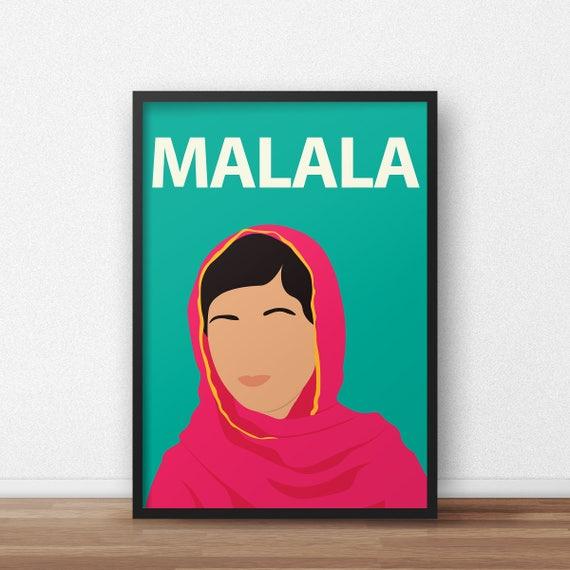 Minimalist Classroom Uk ~ Malala yousafzai poster minimalist print inspirational