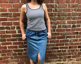 1980's long denim skirt with pockets