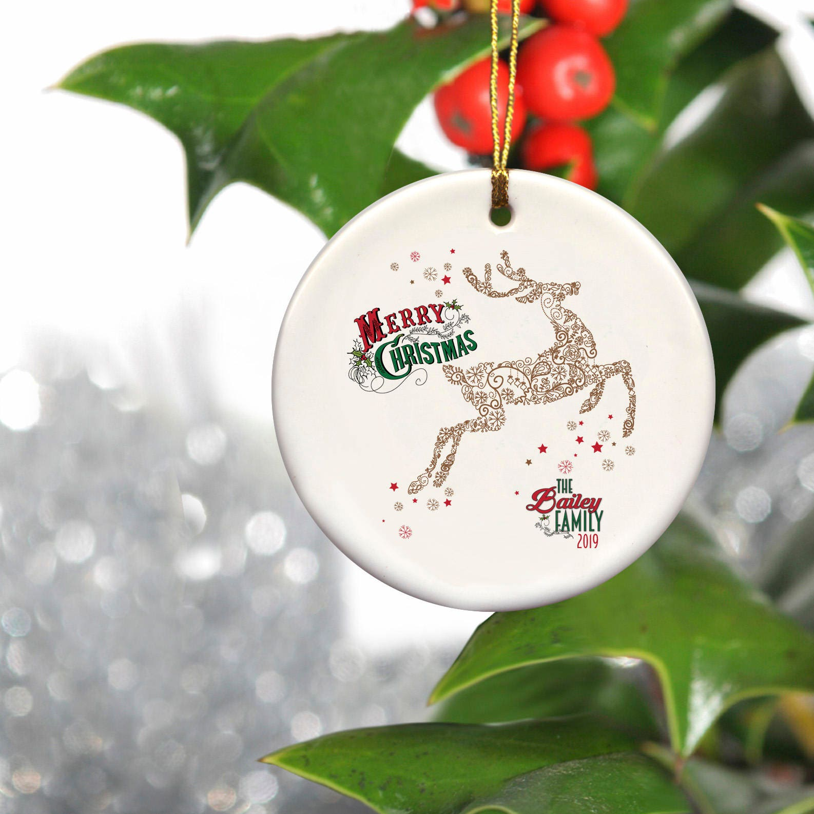Personalized Vintage Reindeer Christmas Ornament Family Name