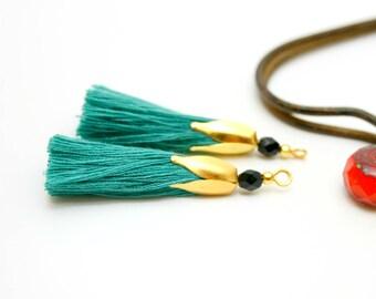 2 Emerald Green tassels, tassel gold tassel 45 mm cotton tassel Turquoise Pompom tassels handmade tassel for jewelry, tassel charm