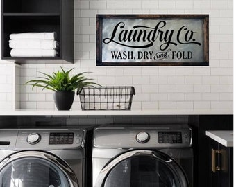 Laundry Room Sign, Laundry Sign, Laundry Room Decor, Laundry Co, Wash Dry Fold Sign, Farmhouse Decor, Fixer Upper Sign, Wood And Metal Sign