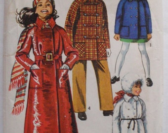 Child's Double Breasted Coat and Hood Sewing Pattern - Simplicity 9048 - Size 4, Breast 23