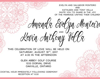 Pink Lace Wedding Invitation and RSVP Card