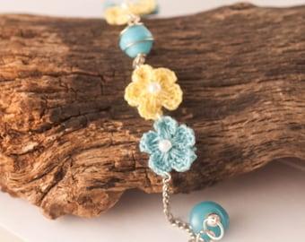 NATURE INSPIRED Crochet Bracelet, Flower Bracelet, Nature Inspired Gift, Blue Bracelet, Floral Bracelet, Crochet Jewelry, Gift For Woman,