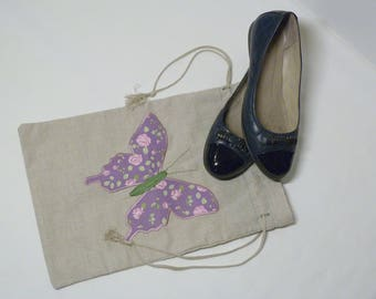 Linen shoe bag, travel shoe bag, laundry bag, bag for shoe storage, bag for changing shoes