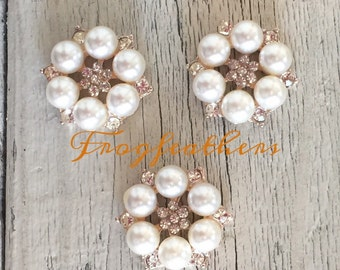 """Pearl with Rhinestone Button Flat back SILVER or GOLD- count-1"""" wide set of 3 or 10"""