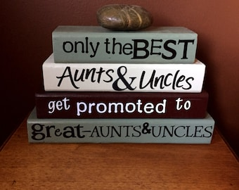 Only the very best Aunts & Uncles get promoted to great-Aunts and Uncles, baby reveal, wood blocks, stacking block set, personalized gift...