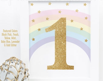 Printable Rainbow Unicorn First Birthday Party Decorations, Unicorn 1st Birthday Party Printables, Gold Glitter Number 1 Sign, Big One Sign
