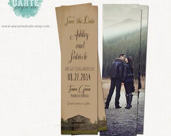 Save the Date Bookmark Vintage Rustic Wedding Bookmark save the date library wedding bookmark it kraft burlap wedding
