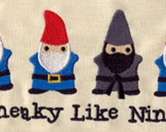 Sneaky Like Ninja Lawn Gnomes Embroidered Flour Sack Hand/Dish Towel
