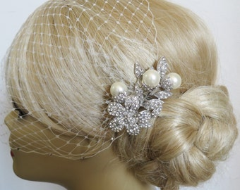 Birdcage Veil and a Bridal Pearls Hair Comb (2 Items), Bridal veil, Rhinestone Bridal Hair Comb Blusher Birdcage Veil Wedding  Bridal Jewelr
