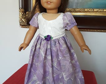 """Purple and White party dress fit AG or 18"""" doll"""