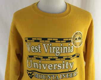 Vintage 90s West Virginia University Mountianeers Yellow Crew Neck Check Measurements