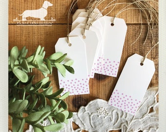 DOLLAR DEAL! Purple Confetti. Gift Tags (Set of 10) -- (Bridal Shower, Wedding Favor Tags, Baby Shower, Thank you, Simple, Polka Dots, Tags)