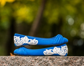 SALE. Wedding Flats -Blue Bridal Ballet Flats, Wedding Shoes, Ballet Flats, Blue Bridal Flats, Flat Wedding Shoes with Ivory Lace