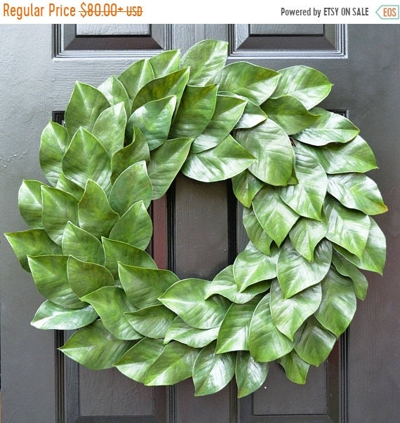 SUMMER WREATH SALE Magnolia Wreath, Fixer Upper Magnolia Wreath, Magnolia Leaves Door Wreath, Southern Decor Year Round Wreath Southern Gift