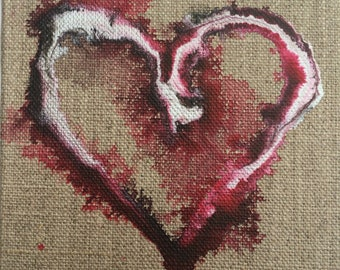 Red Heart, Original heart canvas, heart painting, arty Chirstmas gift, Small Art, modern art, Heart gift, gifts for her