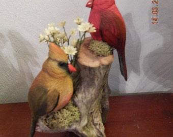 Birds, Miniature Songbirds, Cardinals, Cardinal Pair, Sculpture, Hand Painted, Bill Fewell Carver