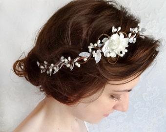 bridal hair piece, wedding headpiece, white floral headband, bridal headband, bridal hair accessories, hair vine, bridal hairpiece #31
