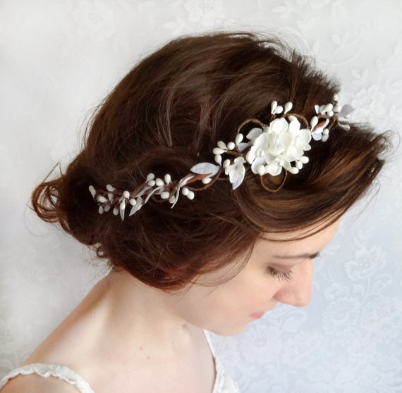 Bridal hair piece wedding headpiece white floral headband mightylinksfo