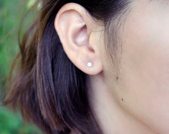 Mini Dot Post Earring, Gold Post Earrings, Sterling Silver Dot Earring, 14kt Gold Filled Post, Simple Flat Stud Earrings