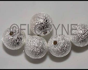 5 round beads sparkling 10mm, silver