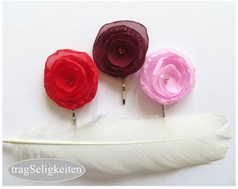 Chiffon flower, hair flower pin, bobby pin, hair accessory, dance accessories, dance gift, red pink