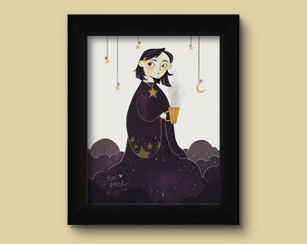 Miss Night 10x15 cm print with black frame