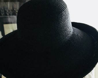 Wide Brim Black Straw Hat