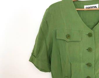 Vintage market dress / french button down midi dress / green linen belted dress / vintage minimalist dress / short sleeve / xs / s / 1980s