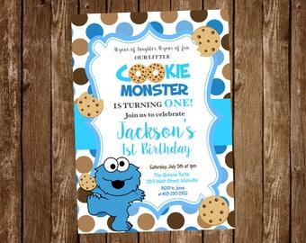 Cookie monster first birthday 1st birthday one year sesame cookie monster first birthday 1st birthday one year sesame street birthday party invitation digital or printed filmwisefo