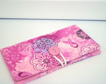 Loyalty Card Organizer Holder  12 Business Card  Gift Card Wallet Pink Breast Cancer