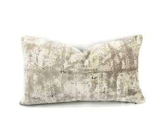 """11"""" x 20"""" S. Harris Mesmerize in the color Argent - Gray Abstract Velvet Lumbar Pillow Cover"""