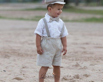 e97764245cb53 Ring bearer newsboy outfit Baby boy natural linen suit Striped linen shorts  suspenders newsboy hat Rustic ...