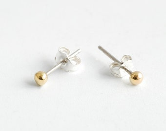 Tiny Minimal dot stud earrings with Brass dots and Silver earring posts