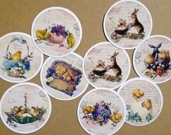 Set of 8 round images Victorian vintage Easter adhesive stickers