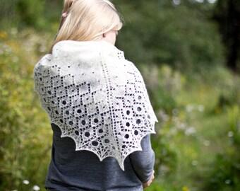 Carmellia - lace shawl; triangular crescent knitting pattern top-down sport-weight shawlette scarf