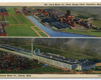 Ford Motor Co Auto Car River Rouge Plant Dearborn Michigan linen postcard