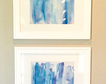 Blue Abstract Watercolor Paintings - Set of Two Framed