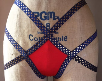 One of a Kind Stars and Straps Blue Elastic with Gold Stars and Red Spandex Butt Strap Cage Panty Burlesque