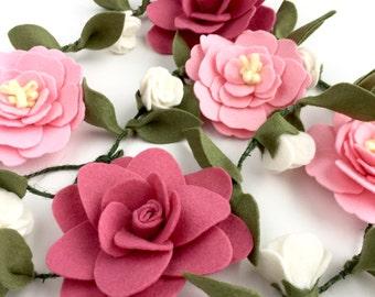 Boho pink felt flower garland -  felt flowers - flower garland wall hanging - Pink and Dusty Rose