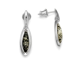 Green amber earrings on 925 silver rhodium, natural stone earrings, exceptional quality, green amber jewel