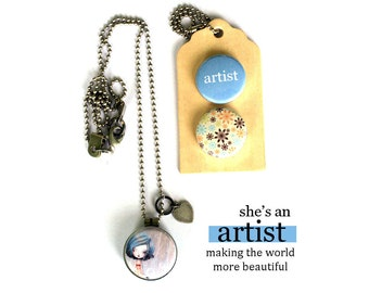 ARTIST Locket Necklace, Gift for Artist, Artist Jewelry, Holds a Picture, Magnetic, Interchangeable, 3 Necklaces in 1, Polarity, Solocosmo