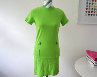 Vintage 1960s Lime Green Mod Shift Dress - Mini Dress Neon Green - XS Extra Small - Sweater Dress Knit