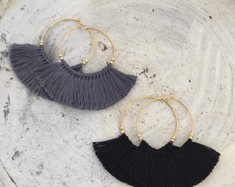 Boho earrings fringe earrings tassel earrings black hoop earrings cheap shipping statement earrings