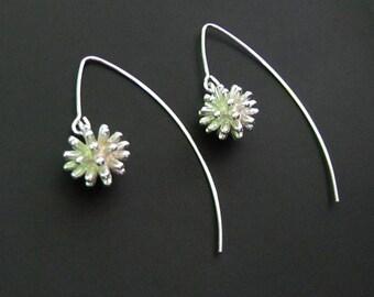 Sterling Silver Dandelion Earrings, Jewelry, Drop Earrings, Dangle Earrings, Make a Wish Earrings, Gift for Her