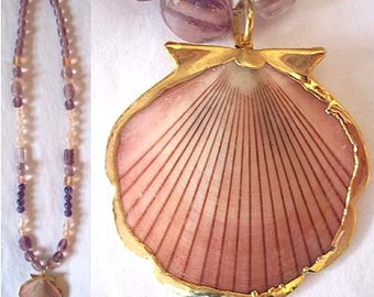 Pretty Pink Shell Pendant with Assorted Antique Pink Beaded Necklace