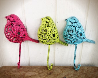 BOLD trio ornate bird wall hooks // spring green hot pink baby blue // towel coat jewelry hook // shabby chic rustic woodland