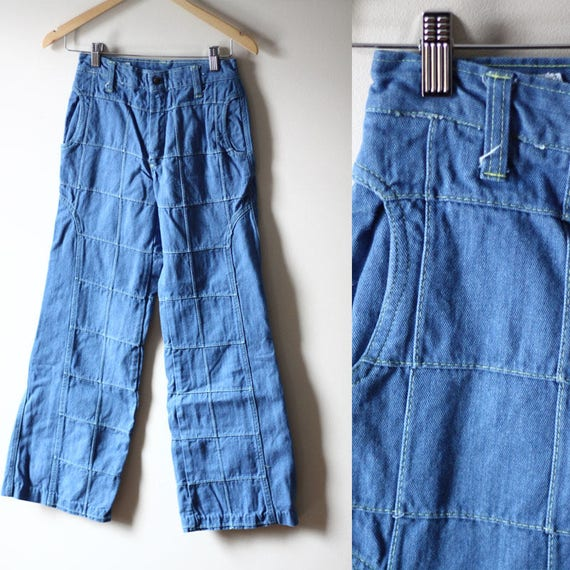 1970s square patch jeans // vintage embroidered denim // vintage jeans