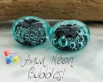 Lampwork Beads Neon Aqua Bubbles Pair